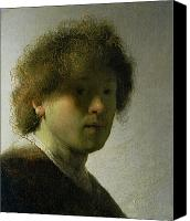 Self Portrait Canvas Prints - Self Portrait as a Young Man Canvas Print by Rembrandt