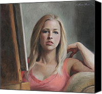Self Portrait Canvas Prints - Self Portrait by the Window Canvas Print by Anna Bain