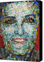 Mosaic Glass Portrait Mixed Media Canvas Prints - Self Portrait Canvas Print by Laura K Aiken