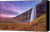 Lush Foliage Canvas Prints - Seljalandsfoss Canvas Print by Aevarg