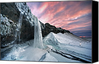 Winter Canvas Prints - Seljalandsfoss Sunset Canvas Print by Traumlichtfabrik