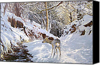 Roe Deer Canvas Prints - Sentier des Biches Canvas Print by Julian Wheat