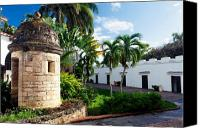 Puerto Rico Canvas Prints - Sentry Post in the Courtyard Canvas Print by George Oze