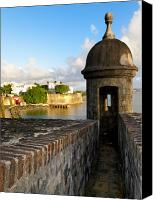 Old San Juan Canvas Prints - Sentry Post on Old City Wall Canvas Print by George Oze