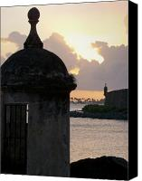 Puerto Rico Canvas Prints - Sentry Post Overlooking San Juan Bay Canvas Print by George Oze