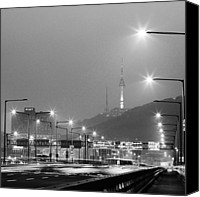 Black And White Pyrography Canvas Prints - Seoul South Korea  Canvas Print by Eduard Kraft