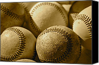 Mlb Canvas Prints - Sepia Baseballs Canvas Print by Bill Owen