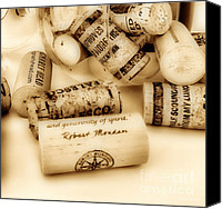 Bottles Canvas Prints - Sepia Corks Canvas Print by Cheryl Young