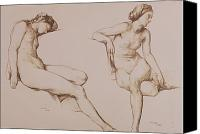 Posing Drawings Canvas Prints - Sepia Drawing of Nude Woman Canvas Print by William Mulready