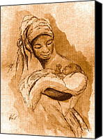 African American Art Drawings Canvas Prints - Sepia Madonna Canvas Print by George Nock