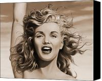 Marilyn Monroe  Canvas Prints - Sepia Marilyn  Canvas Print by James Robertson
