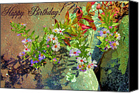 Aster Canvas Prints - September Birthday Aster Canvas Print by Kristin Elmquist