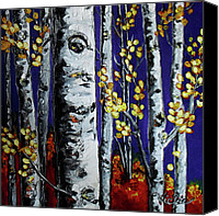 Birch Mixed Media Canvas Prints - September Comes Canvas Print by Vickie Warner