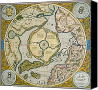 Geography Drawings Canvas Prints - Septentrionalium Terrarum descriptio Canvas Print by Gerardus Mercator