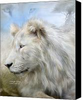 Lion Mixed Media Canvas Prints - Serengeti Spirit Canvas Print by Carol Cavalaris