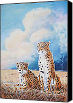 Cheetah Painting Canvas Prints - Serengeti Strikes Canvas Print by DiDi Higginbotham