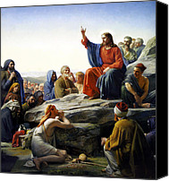 Print Canvas Prints - Sermon On The Mount Canvas Print by Carl Bloch