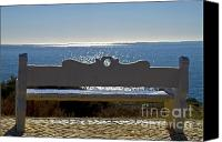 Inspirational Photograph Canvas Prints - Settee at the mediterranean sea Canvas Print by Heiko Koehrer-Wagner