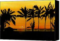 Palm Trees Mixed Media Canvas Prints - Setting Sun in the Tropics Canvas Print by Michael Vigliotti