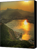 Lush Foliage Canvas Prints - Setting Sun Over Botafogo Canvas Print by by AJ Brustein