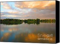 Cedar Canvas Prints - Setting Sun Over Lake of the Isles Canvas Print by Heidi Hermes