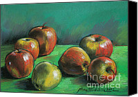 Apples Pastels Canvas Prints - Seven Apples Canvas Print by EMONA Art