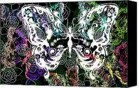 Found Paper Canvas Prints - Seven Butterflies Canvas Print by Angelina Vick