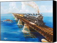 Florida Bridge Painting Canvas Prints - Seven Mile Bridge Canvas Print by Christopher Jenkins