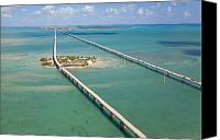 Florida Bridge Photo Canvas Prints - Seven Mile Bridge Crossing Pigeon Key Canvas Print by Mike Theiss