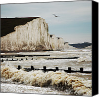 Cliff Canvas Prints - Seven Sisters Chalk Cliffs Canvas Print by Peter Funnell