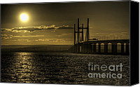 Second Beach Canvas Prints - Severn Bridge Sunset Canvas Print by Rob Hawkins