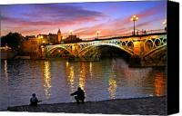 Sunset Canvas Prints - Sevilla Fishing Canvas Print by Skip Hunt