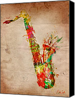 Layered Canvas Prints - Sexy Saxaphone Canvas Print by Nikki Marie Smith