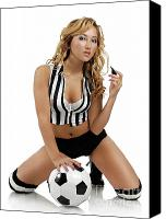 Fitness Ball Canvas Prints - Sexy Young Woman with a Soccer Ball Canvas Print by Oleksiy Maksymenko