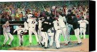 Mlb Painting Canvas Prints - SF Giants 2010 World Series Championship Celebration Canvas Print by Pete  TSouvas