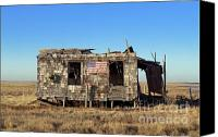 Humble Canvas Prints - Shack with American flag Canvas Print by John Greim