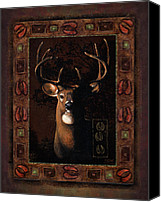 Whitetail Buck Canvas Prints - Shadow deer Canvas Print by JQ Licensing
