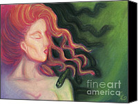 Evil Pastels Canvas Prints - Shadow of Medusa Canvas Print by Cassandra Geernaert