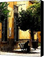 Tlaquepaque Canvas Prints - Shady Bench Canvas Print by Olden Mexico