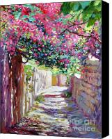 Greece Painting Canvas Prints - Shady Lane Greece Canvas Print by David Lloyd Glover