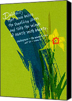 Featured Drawings Canvas Prints - Shakespeare Daffodil Canvas Print by Tamara Stoneburner