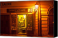 Prague Digital Art Canvas Prints - Shakespeares Bookstore-Prague Canvas Print by John Galbo