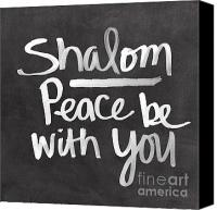 Judaica Canvas Prints - Shalom Canvas Print by Linda Woods