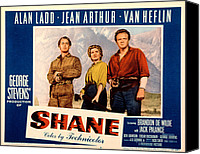 1950s Poster Art Canvas Prints - Shane, Alan Ladd, Jean Arthur, Van Canvas Print by Everett