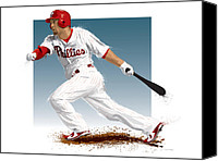 Outfield Digital Art Canvas Prints - Shane Victorino Canvas Print by Scott Weigner