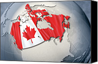 Global Digital Art Canvas Prints - Shape And Ensign Of Canada On A Globe Canvas Print by Dieter Spannknebel