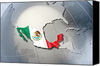 No People Digital Art Canvas Prints - Shape And Ensign Of Mexico On A Globe Canvas Print by Dieter Spannknebel