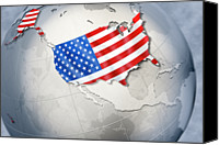 Global Digital Art Canvas Prints - Shape And Ensign Of The Usa On A Globe Canvas Print by Dieter Spannknebel