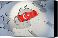 Global Digital Art Canvas Prints - Shape And Ensign Of Turkey On A Globe Canvas Print by Dieter Spannknebel
