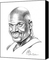 Pencil Drawing Canvas Prints - Shaquille ONeal Canvas Print by Murphy Elliott